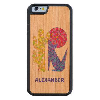 Diseño al sudoeste colorido del arte del lobo del funda de iPhone 6 bumper cerezo