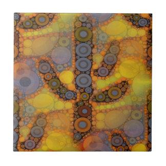 Diseño al sudoeste del mosaico del cactus del Sagu Azulejo Cuadrado Pequeño