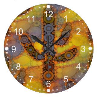 Diseño al sudoeste del mosaico del cactus del Sagu Reloj De Pared