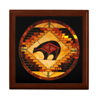 Diseño al sudoeste del vitral del oso cajas de joyas
