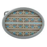 Diseño al sudoeste gris de la turquesa hebillas cinturón ovales