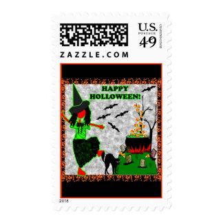 Diseño alegre del feliz Halloween Timbres Postales