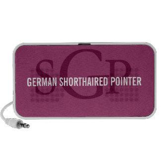 Diseño alemán del monograma de la raza del indicad iPod altavoces