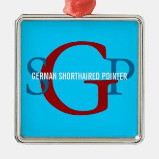 Diseño alemán del monograma del indicador de pelo adorno navideño cuadrado de metal