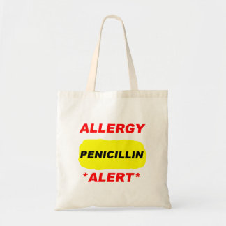Diseño alerta de la alergia de la penicilina de la bolsa lienzo