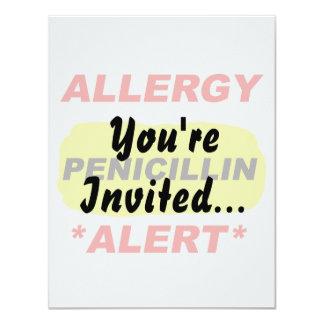 Diseño alerta de la alergia de la penicilina de la invitación 10,8 x 13,9 cm