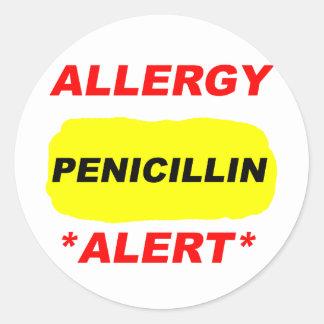 Diseño alerta de la alergia de la penicilina de la pegatina redonda