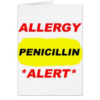 Diseño alerta de la alergia de la penicilina de la tarjeta pequeña