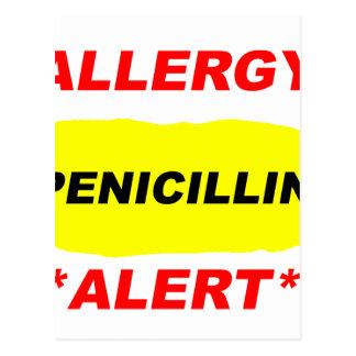 Diseño alerta de la alergia de la penicilina de la postal