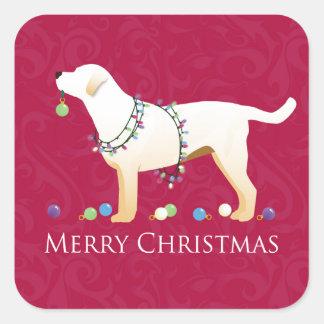 Diseño amarillo de las Felices Navidad del Pegatina Cuadrada
