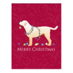 Diseño amarillo de las Felices Navidad del Postal