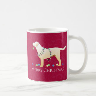 Diseño amarillo de las Felices Navidad del Taza Básica Blanca