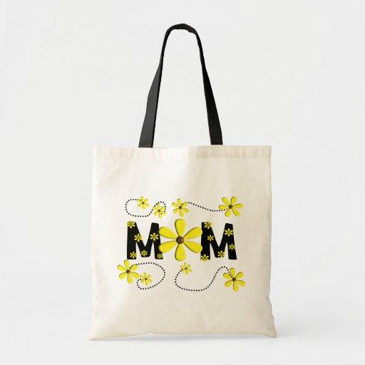 "Diseño amarillo de las margaritas de la ""MAMÁ"" Bolsa Lienzo"