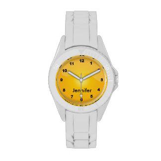 Diseño amarillo de oro que se divierte relojes de mano