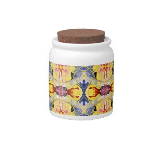 Diseño amarillo del caleidoscopio del rojo azul jarras para caramelos