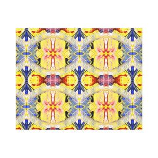 Diseño amarillo del caleidoscopio del rojo azul lona envuelta para galerias