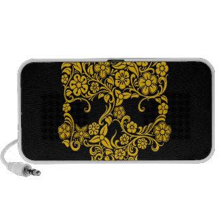 Diseño amarillo del cráneo de las flores y de las iPhone altavoces