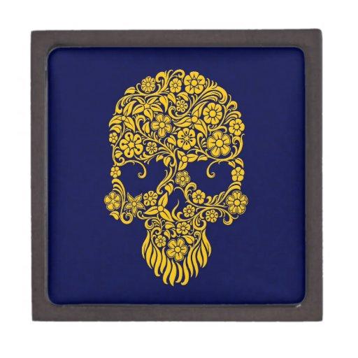 Diseño amarillo del cráneo de las flores y de las  caja de joyas de calidad