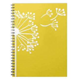 Diseño amarillo del diente de león cuaderno