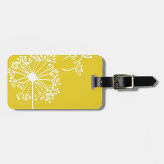 Diseño amarillo del diente de león etiqueta para maleta