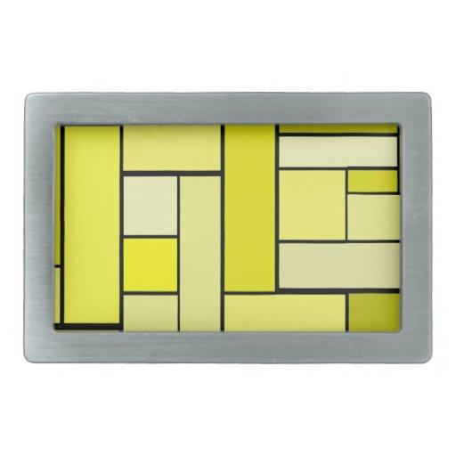 Diseño amarillo del entarimado hebilla cinturón rectangular