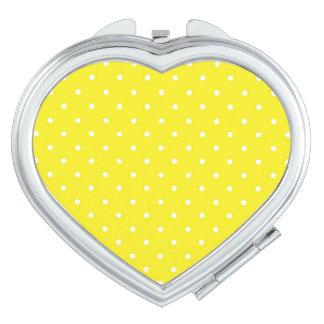 Diseño amarillo del lunar espejos para el bolso