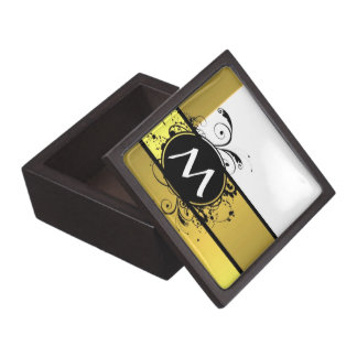 Diseño amarillo del monograma de la mostaza cajas de recuerdo de calidad