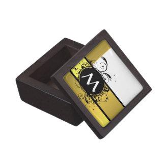 Diseño amarillo del monograma de la mostaza cajas de joyas de calidad