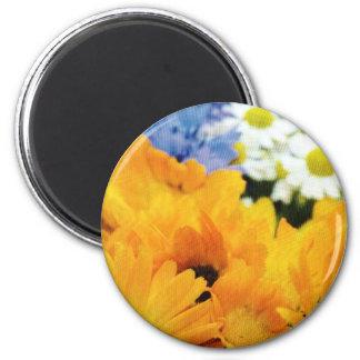 Diseño amarillo del tiempo de primavera imán redondo 5 cm