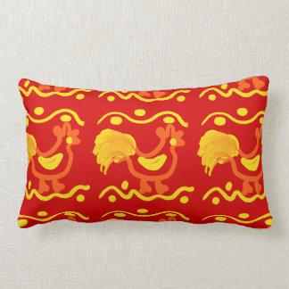 Diseño amarillo-naranja rojo colorido del pollo de cojin