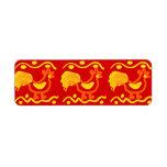 Diseño amarillo-naranja rojo colorido del pollo de etiqueta de remite