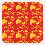Diseño amarillo-naranja rojo colorido del pollo de calcomanía cuadradas personalizada