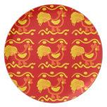 Diseño amarillo-naranja rojo colorido del pollo de plato de cena
