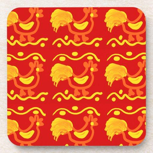 Diseño amarillo-naranja rojo colorido del pollo de posavasos de bebidas