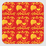 Diseño amarillo-naranja rojo colorido del pollo calcomania cuadradas personalizada
