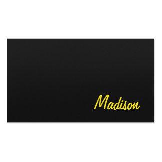 Diseño amarillo negro simple contemporáneo de moda tarjetas de visita