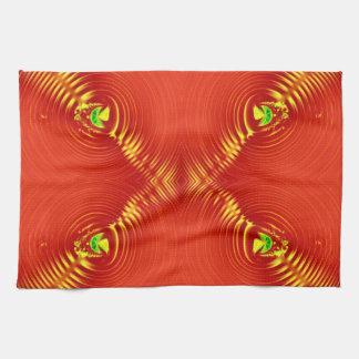 diseño amarillo rojo del fractal toallas de mano