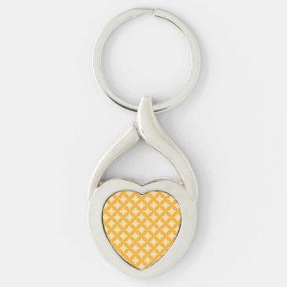 Diseño amarillo y anaranjado de Geocircle Llavero Plateado En Forma De Corazón
