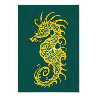 """Diseño amarillo y azul complejo del Seahorse Invitación 3.5"""" X 5"""""""