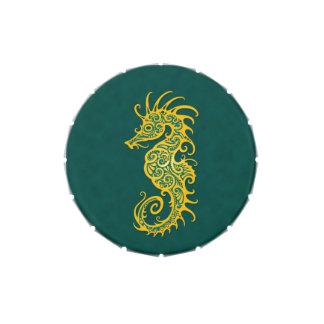 Diseño amarillo y azul complejo del Seahorse