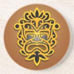 Diseño, amarillo y negro aztecas de la máscara posavasos manualidades