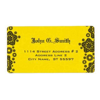 Diseño amarillo y negro del modelo del círculo etiqueta de envío