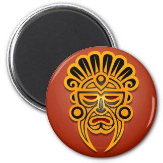 Diseño, amarillo y negro mayas de la máscara imán redondo 5 cm