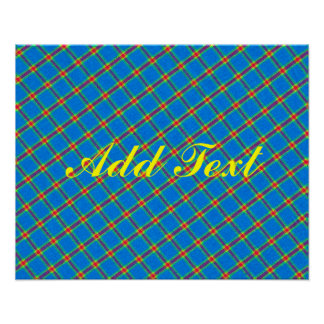 Diseño amarillo y rojo azul de la tela de la posters