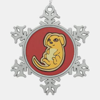 Diseño amarillo y rojo dulce del dibujo del perro adorno de peltre en forma de copo de nieve