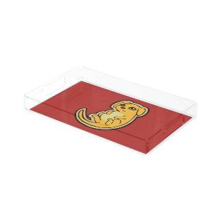 Diseño amarillo y rojo dulce del dibujo del perro bandeja rectangular