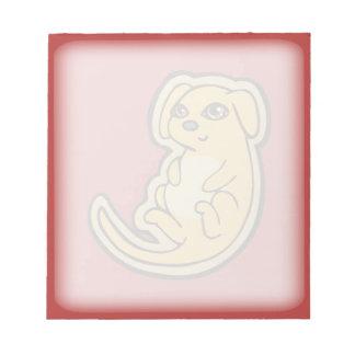 Diseño amarillo y rojo dulce del dibujo del perro bloc