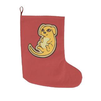 Diseño amarillo y rojo dulce del dibujo del perro bota navideña grande