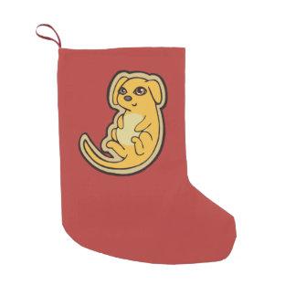 Diseño amarillo y rojo dulce del dibujo del perro calcetín de navidad pequeño