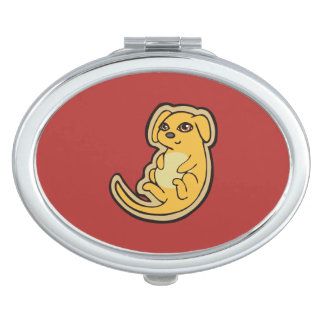 Diseño amarillo y rojo dulce del dibujo del perro espejo de maquillaje